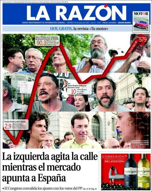Portada del diario La Razón 20 de julio