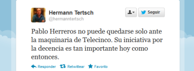 Tuit sobre Pablo Herreros. Hermann Tertsch