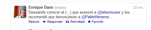 Tuit sobre Pablo Herreros. Enrique Dans.