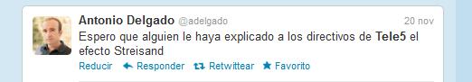 Tuit sobre Pablo Herreros. Efecto Streisand.