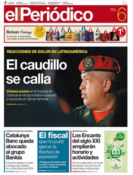 Portada El Periódico muerte Chavez
